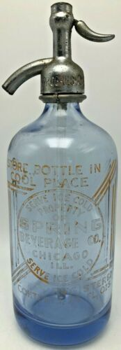 Vintage Spring Beverage Company Chicago Seltzer Bottle Czechoslovakia Art Deco