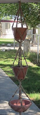 Macrame Plant Hanger 3-TIER 6PLY All Natural JUTE 72in with BEADS