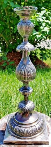 """ESTATE POLISH 875 SILVER ALLOY 14"""" CANDLE HOLDER by A. GOLDMAN-435g-FREE US SHIP"""