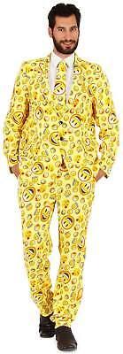 Anzug 3-tlg. Hose Sakko Krawatte Smiley Emoji Karneval Fasching Kostüm 44-62