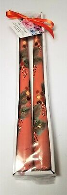 "Tapered Candle Sticks Berries Autumn Thanksgiving Hand Painted 10"" Set Of 2"