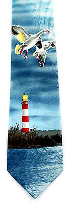 Lighthouse Geese Mens Neck Tie Nautical Blue Necktie Ocean Sea Bird Gift New - Nautical Tie