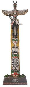 Veronese Figurine American Indian Totem Pole Statue Gift Home Decor Black Foot