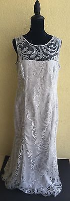RALPH LAUREN SIZE 14 DRESS SILVER GRAY FORMAL PROM EVENING LACE OVERLAY $340