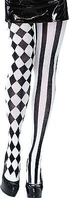 Harlekin Strumpfhose schwarz-weiß NEU - Zubehör Accessoire Karneval Fasching
