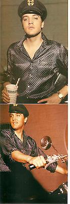 Elvis Presley RARE 1950's 5 Photo Set in Purple Polka Dot Shirt & On Harley