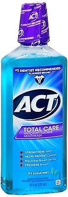 ACT Total Care Anticavity Fluoride Mouthwash Icy Clean Mint 18 oz (Pack of 2) Care Anticavity Fluoride Mouthwash