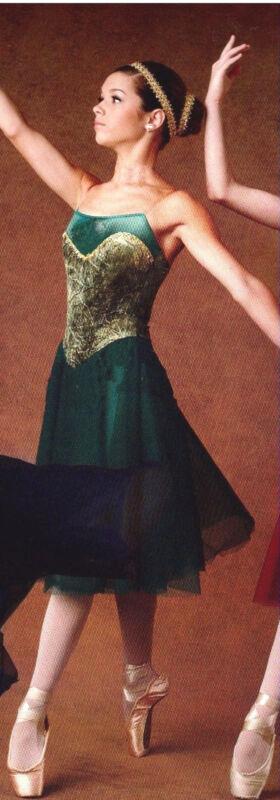 NEW BALLET Lyrical Dance COSTUME Chiffon Skirt Gold Tinted Velvet child/ladies