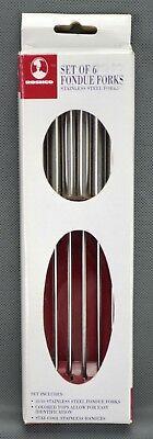Roshco Fondue Forks Set of 6 Original Box Stay Cool Stainless Colored Tips NIB
