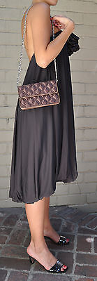 Marc Jacobs Quilted Satin Evening Bag Clutch Brown NEW