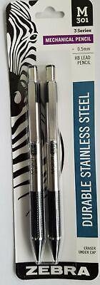 4 Zebra M-301 Stainless Steel Black Mechanical Pencils 0.5mm Hb Lead