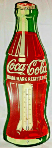 Vintage Collectors Embossed Metal Coca Cola Coke Thermometer Sign Soda Pop~Nice