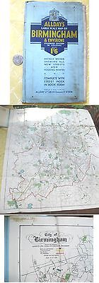 Vintage Map,BIRMINGHAM,UK,Allday's,Color,C.1920