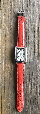 Activa Swiss Watch 495494 Red Leather Band Water Resistant Stainless Steel