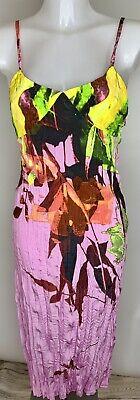 JUST CAVALLI - ROBERTO CAVALLI • Pink Green Pattern Midi Dress • SIZE 40 Small
