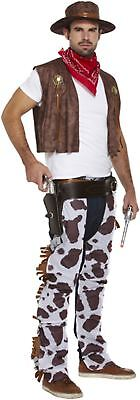 Cowboy Men's Cowprint Outfit Western Hat Bandana Chaps Fancy Dress Costume