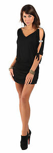 New Womens Ladies Sexy Mini V Neck Open Sleeve Tunic Dresses Top UK Size 8~18