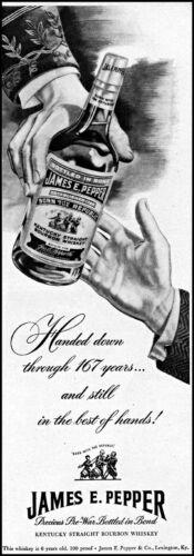 1947 James E. Pepper 1776 100 Proof Bourbon Whiskey vintage art print Ad adL49