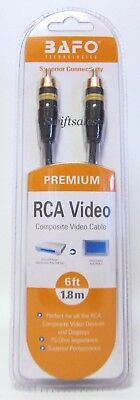 BAFO Premium 24K Gold Plated Composite RCA Video Cable 6' 6FT NEW Retail Pack ()