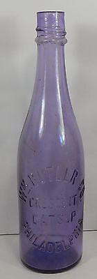 c1910 PURPLE-AMETHYST CATSUP BOTTLE - Wm BUTLER CO. CRESCENT CATSUP PHILADELPHIA