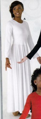 NWT Dance White Long Sleeve Spandex Full Circle Praise Dress Ladies/Girls 76176