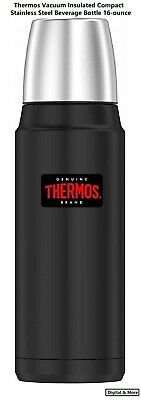Thermos Vacuum Insulated Compact Stainless Steel Beverage Bottle 16-Ounce, (Thermos Vacuum Insulated 16 Ounce Beverage Bottle)