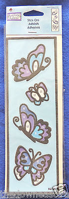 Fancy Flutters Butterflies Plaid Gallery Glass 16738 Adhesive Stick-Ons Outlines