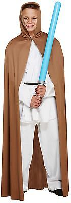 Boys Jedi Brown Cape With Hood Fancy Dress Childs Dressing Up Costume Outfit - Boys Jedi Costume