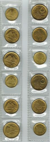 Egypt Coins 6 Pyramids Uncirculated Coins 1,5 & 10 Piasters 1984
