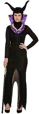 Damen 3-tlg. Böse Königin Halloween Bösewicht Kostüm Kleid Outfit (Bösewicht Outfit)