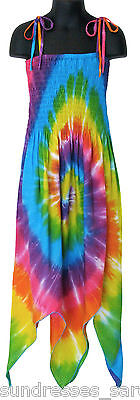 Girls Rainbow Tie Dye Dress Handkerchief Hem Summer Beach NEW Sizes 4 6 8 10 12