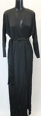 Boohoo Women's Plus Slinky Plunge Split Maxi Dress AB3 Black Size US:14 NWT