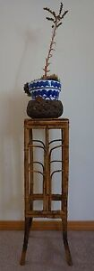 Antique Chinese Qing Dynasty Bamboo Table Plant Stand Square Top 25