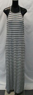 Boohoo Women's Plus Stripe Rib Maxi Dress LP7 White Size US:14 UK:18 NWT