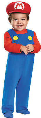Mario Brothers Infant Boys Cute Blue Costume Jumpsuit Halloween Disguise