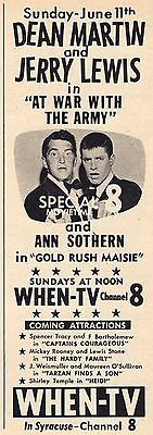 1961 TV AD~DEAN MARTIN & JERRY LEWIS~SPECIAL 8 MOVIETIME WHEN SYRACUSE,NEW YORK