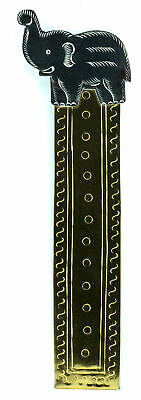 """Elephant Metal Bookmark 2 Tone Gold with Silver Elephant Top Accent 1"""" x 6"""""""