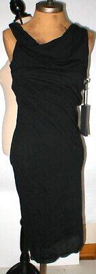 New NWT 8 Womens 44 Isabel Benenato Dress Designer Italy Black Cowl Tank LBD
