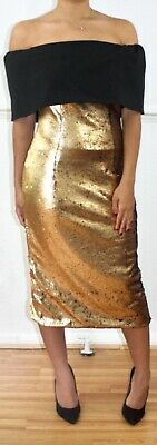 THE 8TH SIGN Strapless Gold/Black Sequin Prom Cocktail Party Dress Uk 10](Prom Signs)