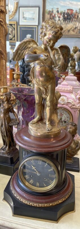 ANTIQUE 19th C FRENCH Dore Bronze Marble Figural Winged Putti  Cherub CLOCK