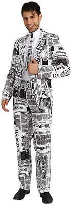 Anzug 3-tlg. Hose Sakko Krawatte Zeitung Journalist Karneval Fasching Kostüm