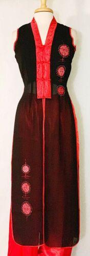 Traditional Asian Vietnamese Dress Sleeveless Aodai w Double Happiness Character