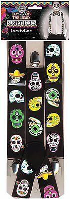 Mens Day Of The Dead Sugar Skull Braces Fancy Dress Costume Outfit Accessory