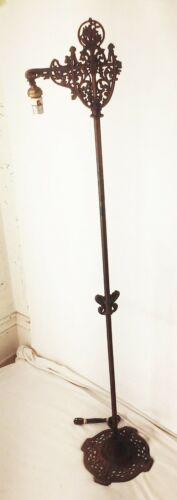 Vtg antique ornate cast iron deco nouveau bridge floor lamp light