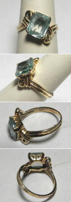 C1228 Vintage 14K Solid Yellow Gold Light Green Beryl Bypass Ring, Sz 7.5
