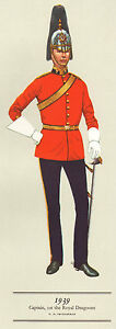 VINTAGE MILITARY CAVALRY UNIFORM PRINT ~ 1939 ~ CAPTAIN ~ 1st THE ROYAL DRAGOONS