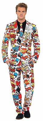 Halloween Stripping Costume (Comic Strip Suit Adult Mens Costume Printed Statement Coat Halloween Fancy)