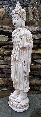 Tall Standing Thai Buddha Ceramic Garden Outdoor Indoor Statue Ornament  Beige