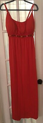 Allison Brittney Maxi Dress Sundress XL Coral Jeweled Bodice SO PRETTY & COMFY!