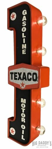 Texaco Double Sided Light Sign Vintage Style Gas Oil Garage